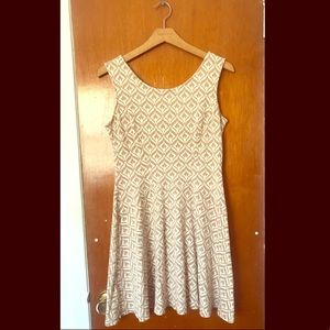 Tan/White Patterned Tank Dress